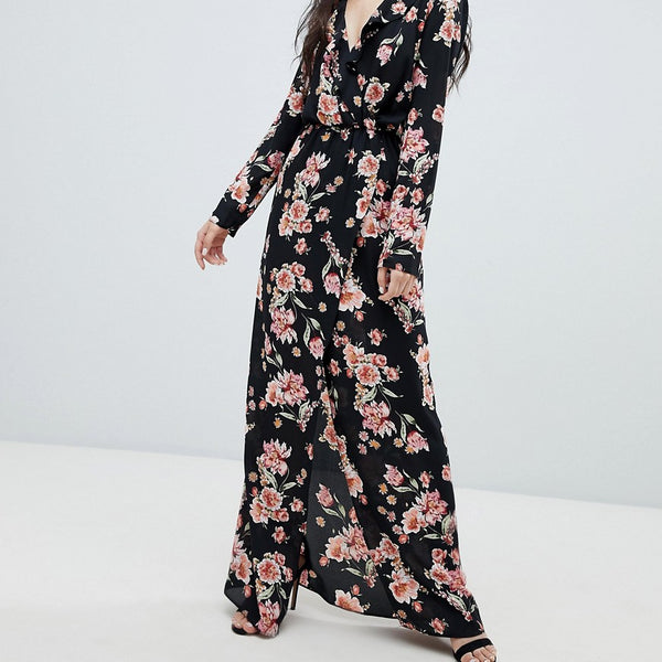 Oh My Love Frilled Neck Maxi Dress In Floral Print - Black/orange