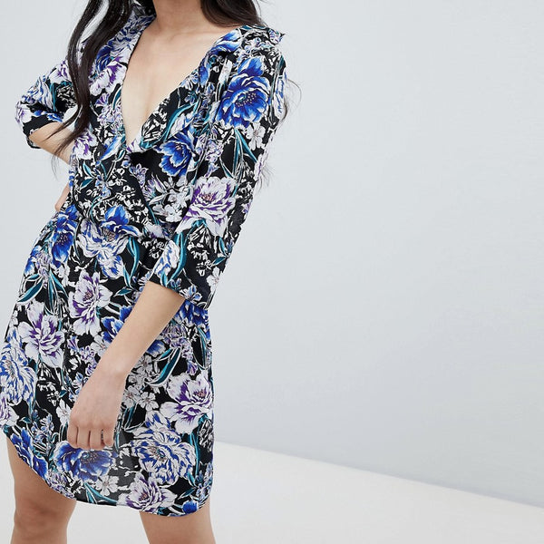 Oh My Love Frilled Neck Mini Skater Dress In Floral Print - Black/blue print