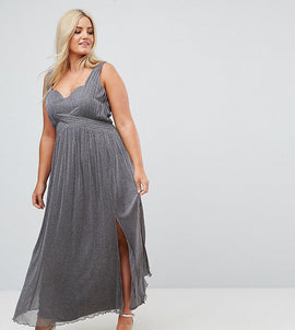 Little Mistress Plus Metallic Jersey Maxi Dress With Wrap Detail - Silver