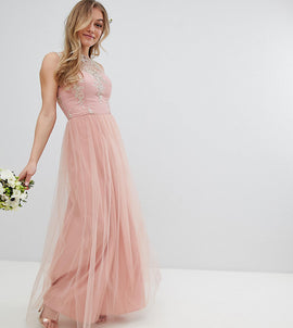 Chi Chi London Petite Sleeveless Maxi Dress with Premium Lace and Tulle Skirt - Vintage rose/gold