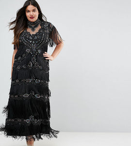 A Star Is Born Plus Embellished Maxi Dress With Tiered Fringing And Cap Sleeve - Black