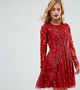 A Star Is Born Petite Embellished Skater Dress With Longsleeves - Red