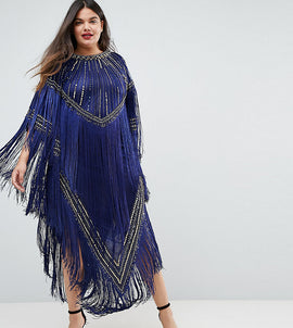 A Star Is Born Plus Kimono Midi Dress With Tassles - Navy/gold