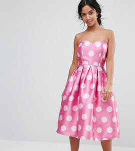 Chi Chi London Petite Structured Bandeau Midi Dress in Polkadot - Pink polka