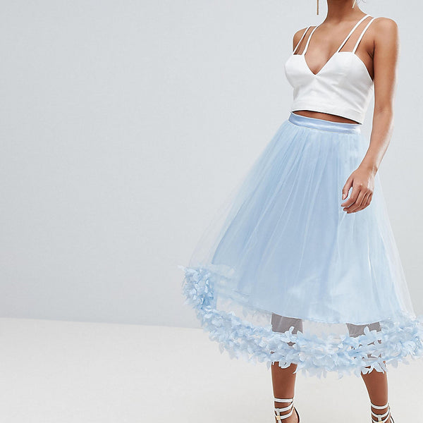 PrettyLittleThing 3D Floral Tulle Skirt - Light blue