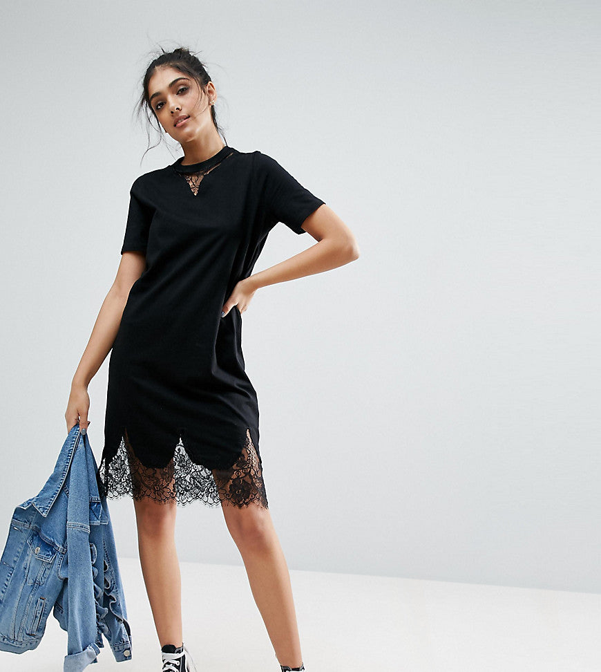 ASOS TALL T-Shirt Dress with Lace Inserts - Black