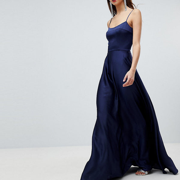 ASOS Tall Square Neck Cami Satin Maxi Dress - Navy