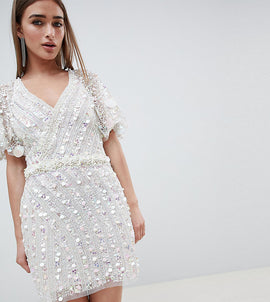 A Star is Born Petite Cape Mini Dress with Mermaid Embellishment - Iridescent