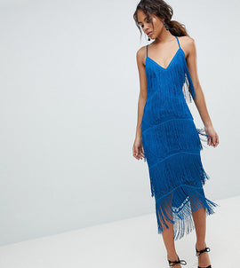 ASOS DESIGN Tall fringe & lace plunge bodycon midi dress - Cobalt