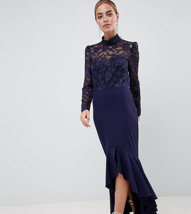 City Goddess Petite Long Sleeve High Neck Fishtail Maxi Dress With Lace Detail - Navy