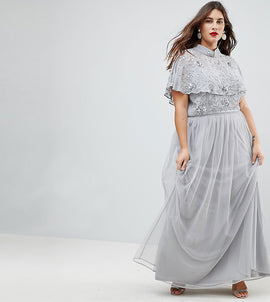 Frock And Frill Plus Premium Embellished Top High Neck Maxi Dress - Grey/silver