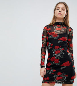 Noisy May Petite Mesh Dress With Rose Print - Multi