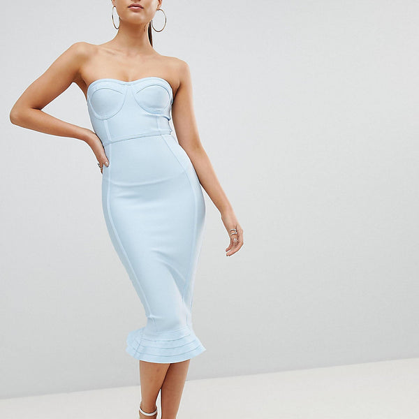 PrettyLittleThing Bandage Frill Hem Bodycon Dress - Blue