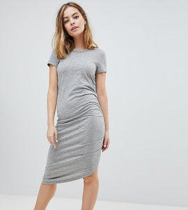 Noisy May Petite Asymetric Ruched Jersey Midi Dress - Grey