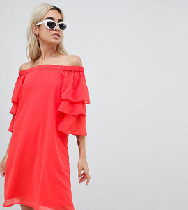 Vero Moda Petite Off Shoulder Dress With Tiered Sleeve - Red
