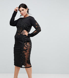 A Star Is Born Plus Embellished Long Sleeve Dress - Black