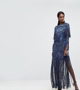 A Star Is Born Embellished Embroidered Maxi Dress With Tassle Detail - Steel blue