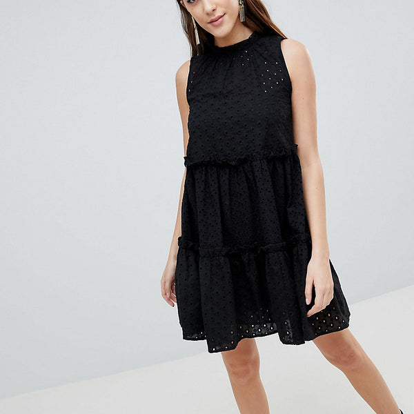 ASOS Tall ULTIMATE Sleeveless Broderie Trapeze Dress - Black