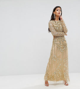 A Star Is Born Petite Embellished Baroque Maxi Dress With Front Split - Gold