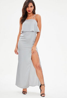 Silver Silky Double Layer Maxi Dress- Grey