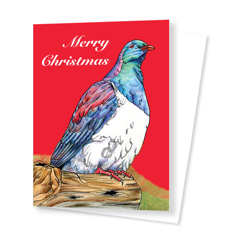 Wood Pigeon Christmas Card (Red)