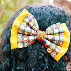 "Wilderness Explorer ""UP"" Disney Inspired Deluxe Glitter Fabric Hair Bow"