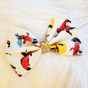 """Incredibles"" Disney Pixar Inspired Glitter Fabric Bow"