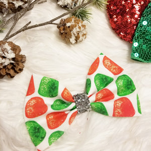 "Vintage Christmas ""Gum Drops"" // Holiday Christmas Fabric Hair Bow"
