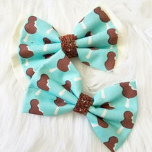 Mint or Rose Gold Mickey Ice Cream Bar Colorful Glitter Fabric Hair Bow