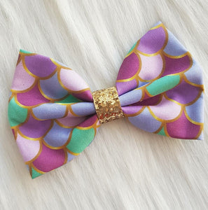 Mermaid Lagoon Colorful Glitter Fabric Hair Bow