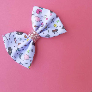 Purple Wall Vibes Disney Park Inspired Glitter Fabric Hair Bow