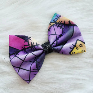 Sally Nightmare before Christmas Halloween Inspired Disney Fabric Hair Bow