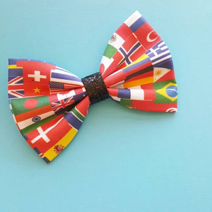 EPCOT World Showcase Flags Disney Inspired Fabric Glitter Hair Bow