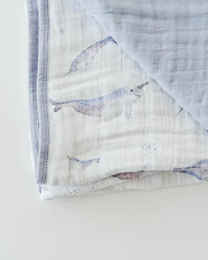 Little Unicorn Cotton Muslin Quilt - Narwhal