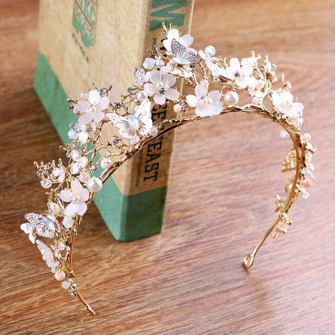 ANTHEIA | Gold Flower & Butterfly Tiara with Crystals- The Luxe Bride Co