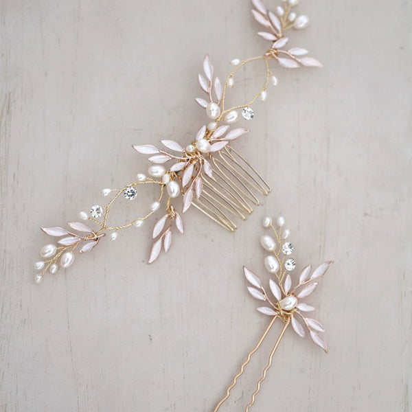 CLARA | Freshwater Pearl & Crystal Hair Pins, Comb or Headpiece