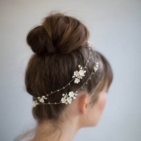 EMILLE | Hair Vine with Flowers & Crystals- The Luxe Bride Co