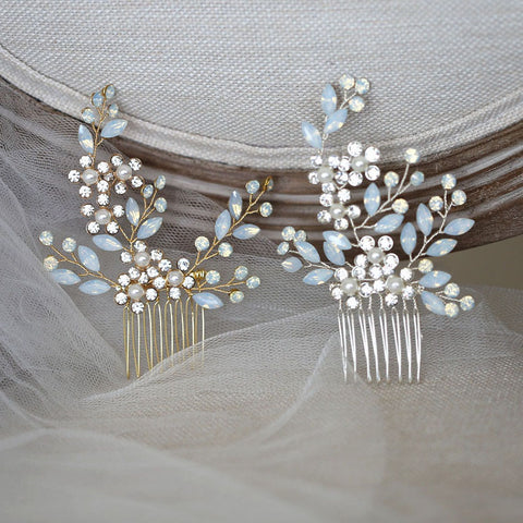 ISABELLA | Gold or Silver Opal Crystal Comb - The Luxe Bride Co