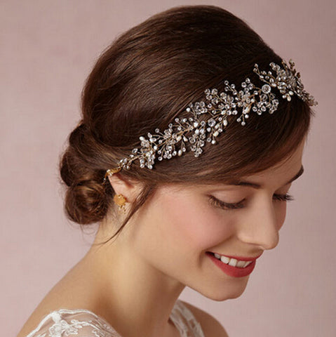 LOUISA | Crystal & Pearl Wedding Headband in Gold - The Luxe Bride Co