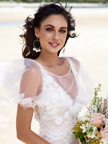 MONROE | Diamond Ruffle Bridal Cape