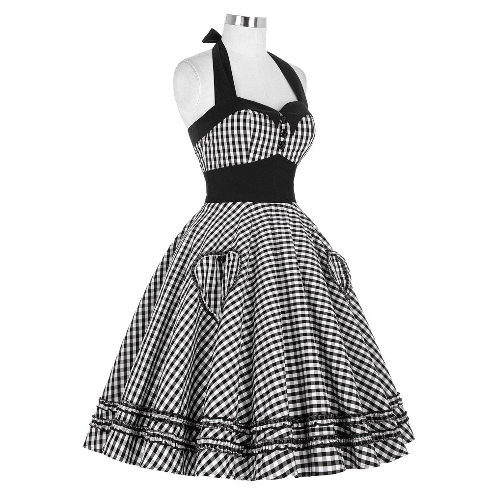 Georgeous Girl in Gingham Retro 50s Rockabilly Summer Dress