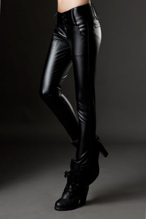 Casual Leather Pencil High Waist Pants