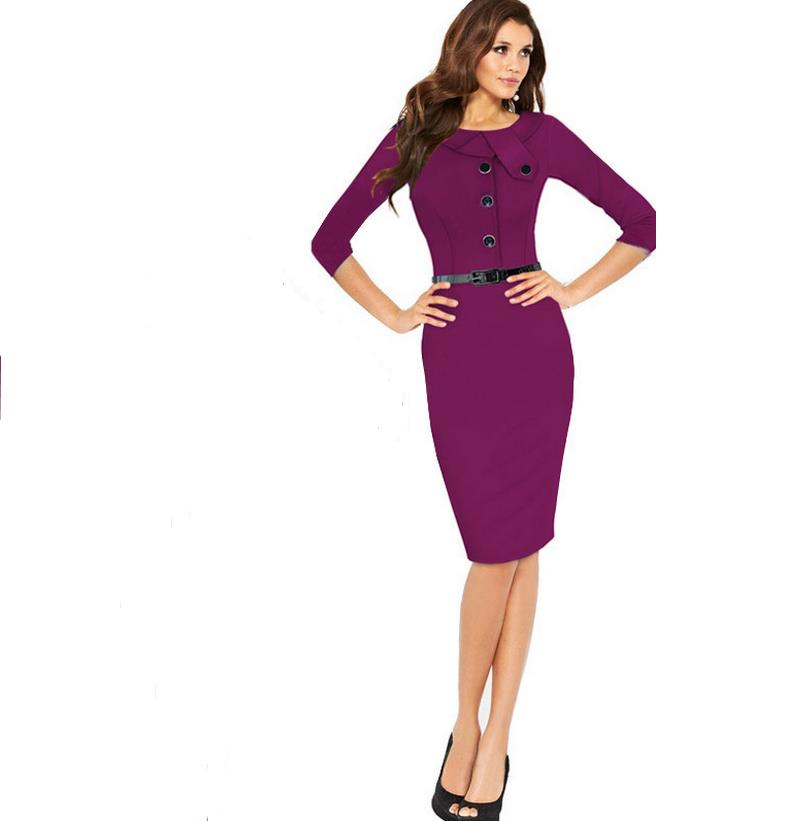 Retro Rockabilly 3/4 Sleeve Wiggle Pencil Dress