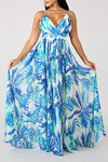 Floral Print Deep V Neck Sleeveless Long Gown