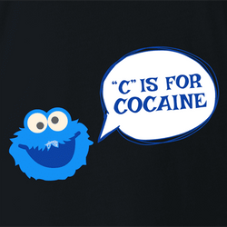 Cocaine Monster Parody - C is For Cocaine t-shirt white men's
