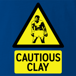 Funny Cassius Clay/Muhammad Ali Warning Sign Parody T-Shirt t-shirt white men's