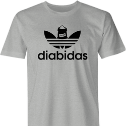 adidas diabetes parody men's t-shirt grey