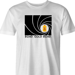 Funny Gold Bond James Bond Mashup t-shirt white men's
