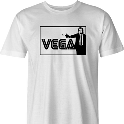 cool vincent vega pulp fiction sega parody men's white t-shirt