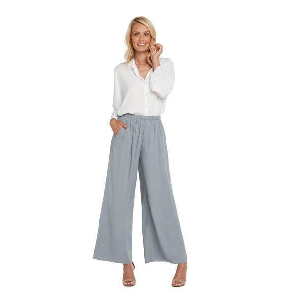 Solid Wide Leg Pants - Oyster